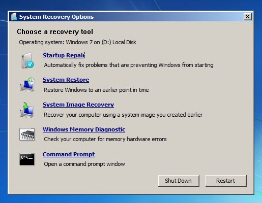 windows 7 startup repair 7 Reparar Windows 7 con Windows 7 System Recovery Discs