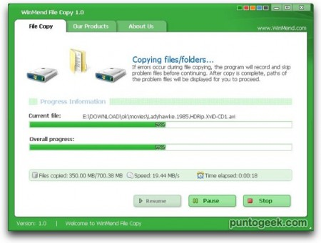 Copiar archivos con WinMend File Copy